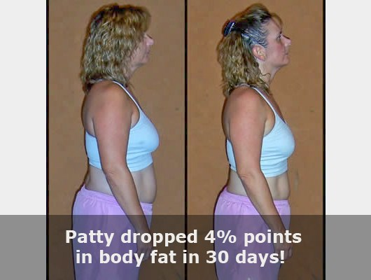 before and after side view photo of female body transformation client who dropped 4 body fat percentage points in just 30 days