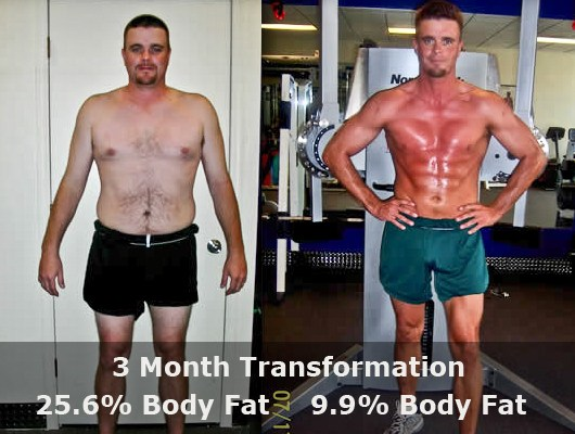 before and after front view of a male body transformation client showing fat loss and muscle gain