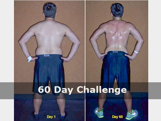 before and after back view photo of male body transformation client after 60 days of diet and exercise with Jason Smith