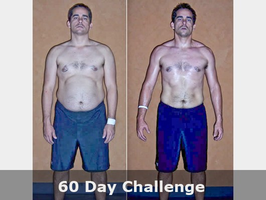before and after front view photo of male body transformation client after 60 days of diet and exercise with Jason Smith