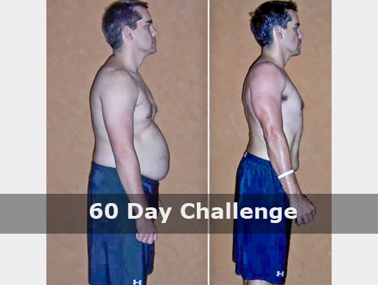 before and after side view photo of male body transformation client after 60 days of diet and exercise with Jason Smith