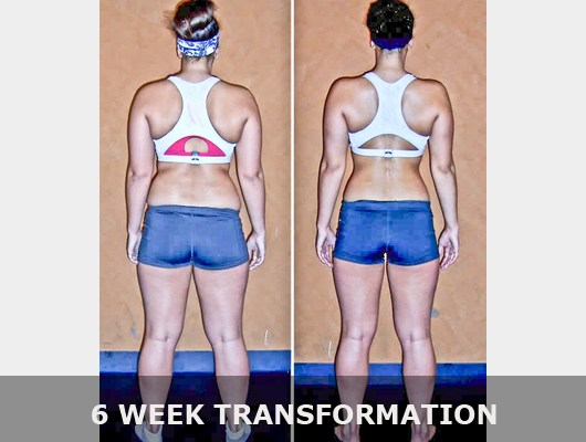 before and after back view photo of female body transformation client after 6 weeks of diet and exercise with Jason Smith