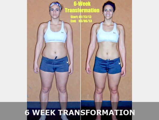 before and after front view photo of female body transformation client after 6 weeks of diet and exercise with Jason Smith