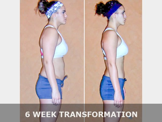 before and after side view photo of female body transformation client after 6 weeks of diet and exercise with Jason Smith