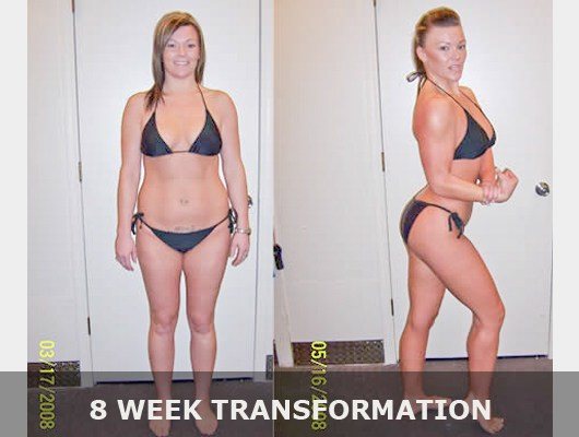 before and after front view and side view bikini photo of a female transformation client