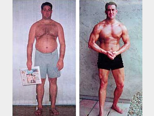 before and after front view photo of Jason's very first body transformation client