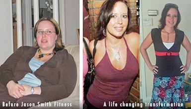 before and after front view photo of a female body transformation client who lost close to 100 pounds