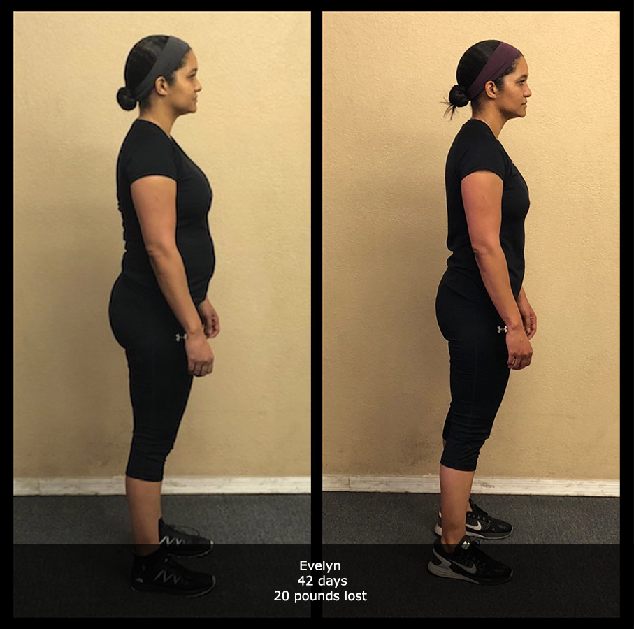before and after side view photo of a female body transformation client who lost 20 pounds in 42 days