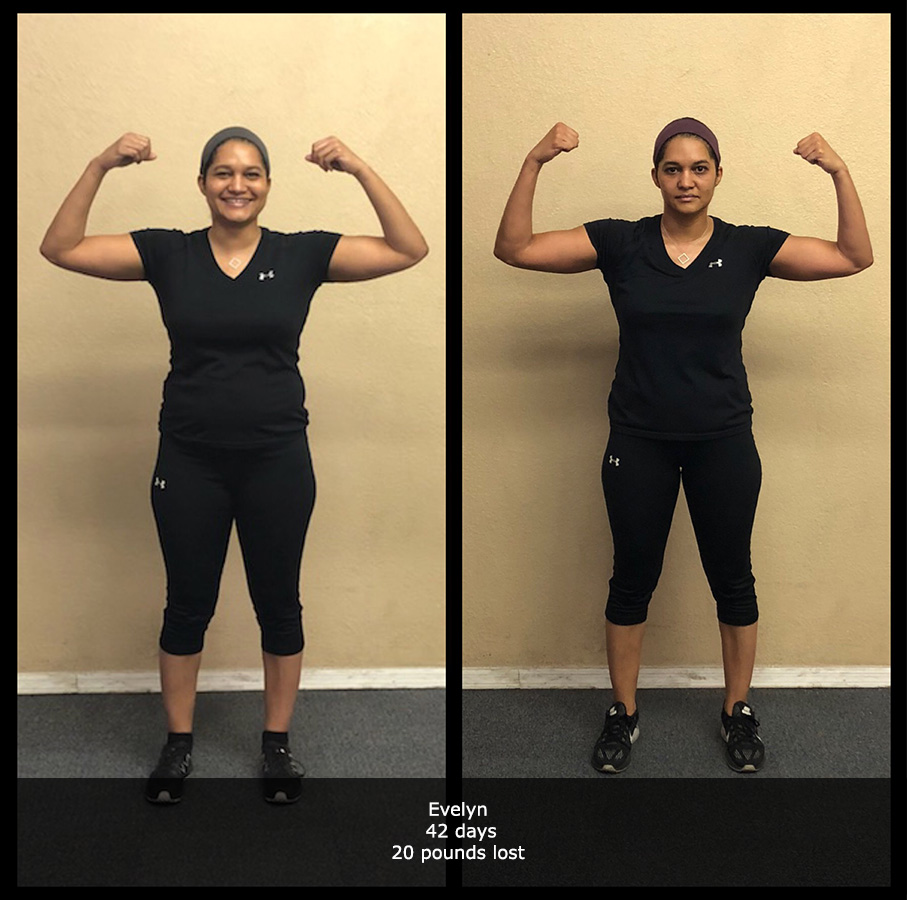before and after front view photo of female body transformation client who lost 20 pounds in 42 days