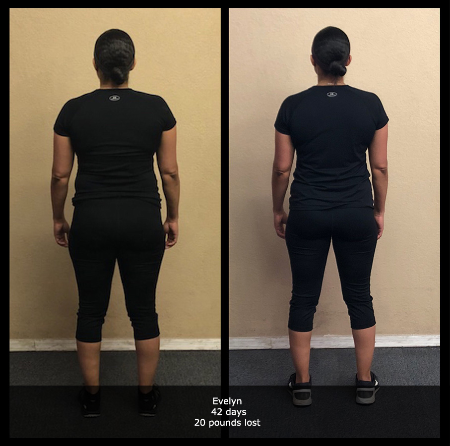 before and after back view photo of a female body transformation client who lost 20 pounds in 42 days