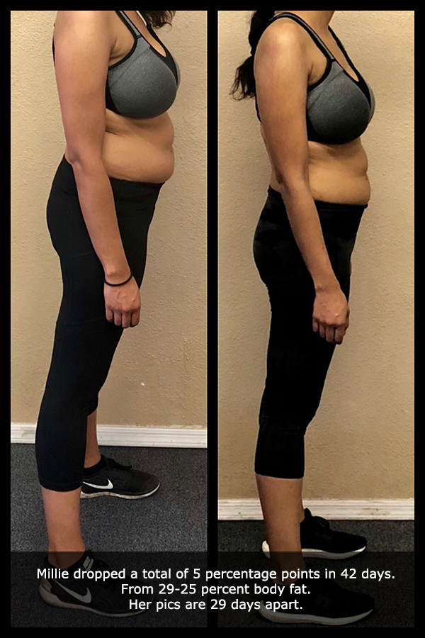close up before and after side view photo of a female body transformation client after 29 days of diet and exercise