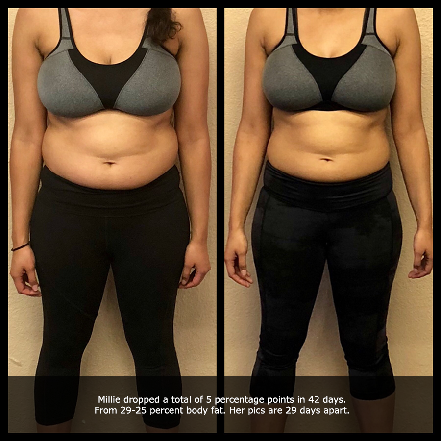 close up before and after front view photo of a female body transformation client after 29 days of diet and exercise