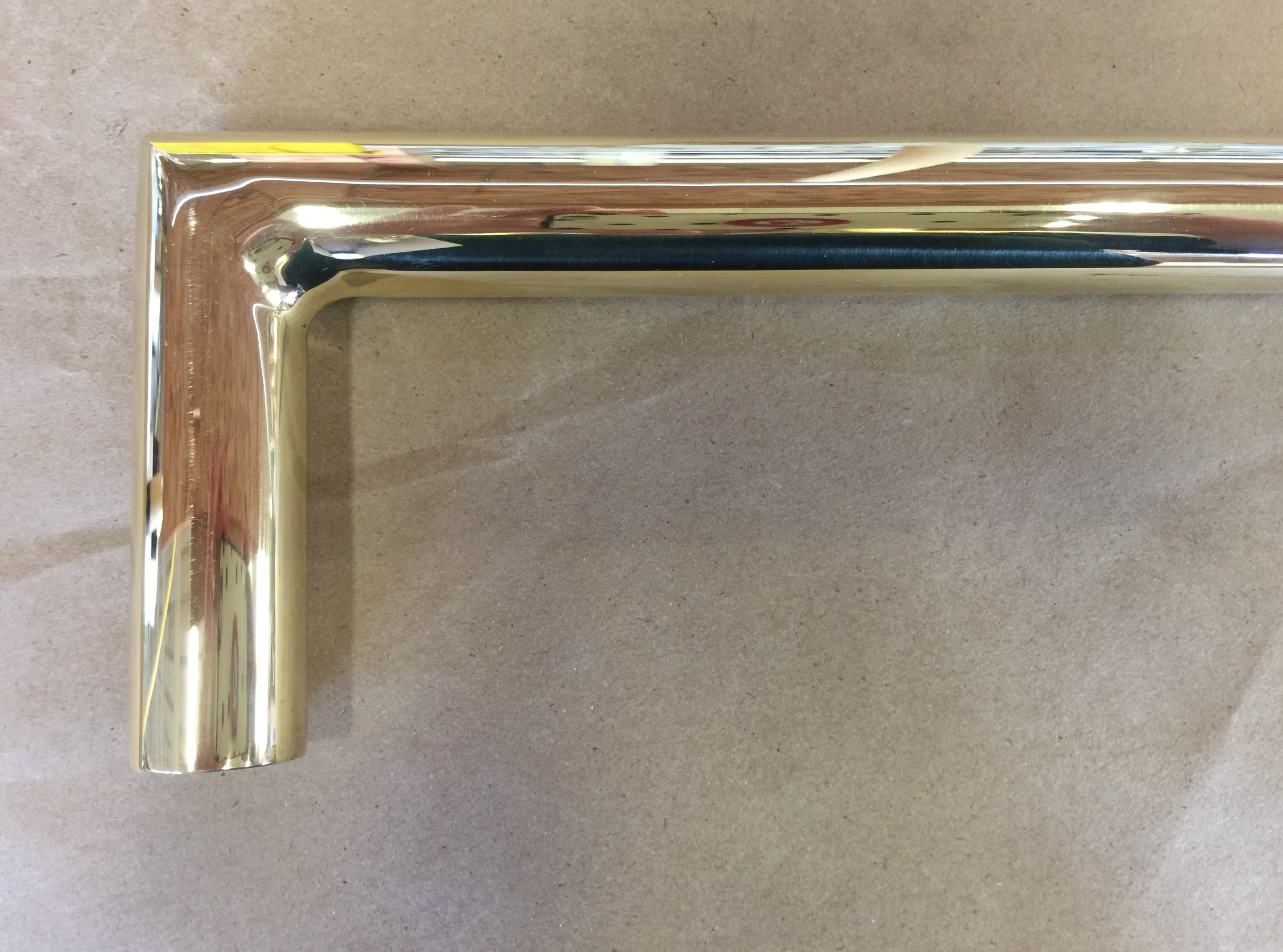 Polished Brass Drapery Rod with Mitered Elbow