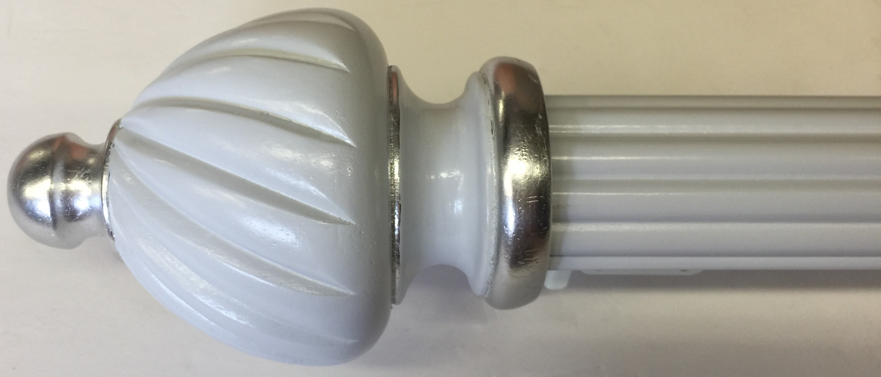 "2"" Reeded Rod with Custom Grey Paint and Silver Leaf Finial"