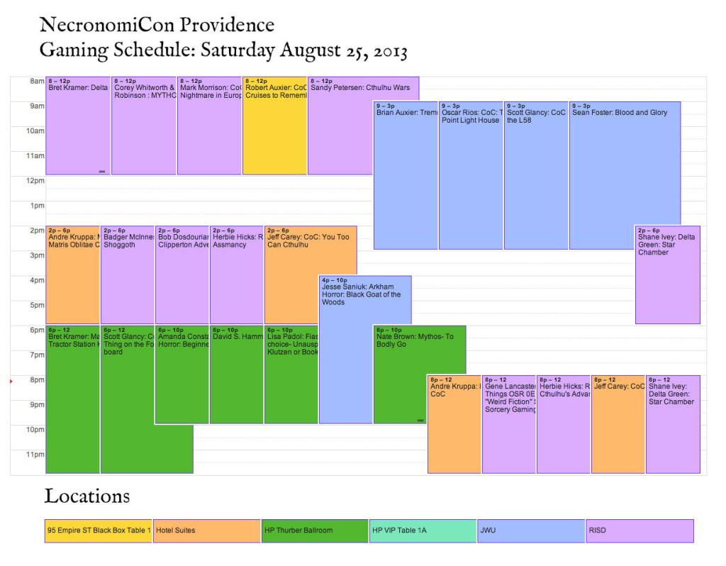 Necronomicon Gaming Schedule Saturday