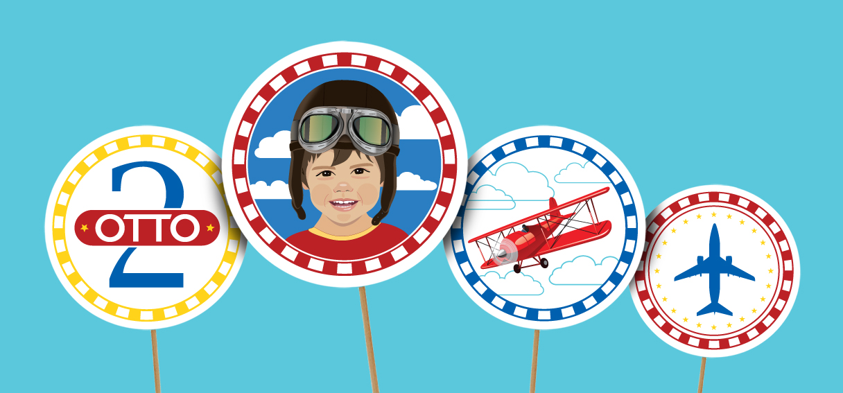 Toppers para Doces Festa Aviador