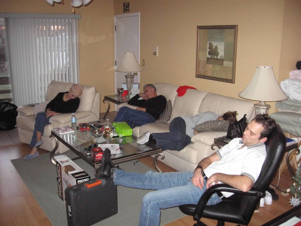 Picture of my family sleeping Christmas Day