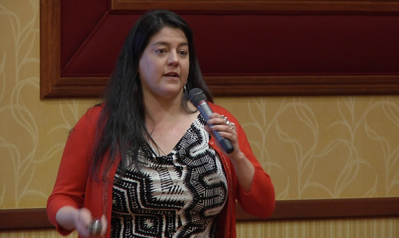 Heather Whiteman Runs Him speaks about Tribal Water Rights at the 2016 NWAL Summit. Nov 9, 2016.