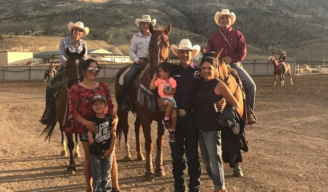 Vicki Hebb and her family at a rodeo in Cody, WY.