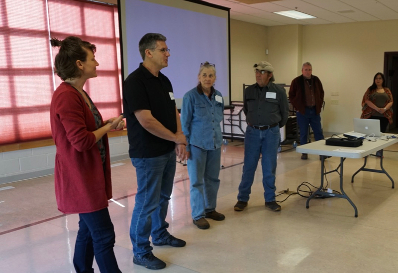 NWAL team members Meghan Collins, Derek Kauneckis, Anna Eichner, Scott Goode, Virgil Dupuis (SKC) and Mary Rose Morigeu (Confederated Salish and Kootenai Tribes) welcome participants to Youth Day, May 3, 2018.