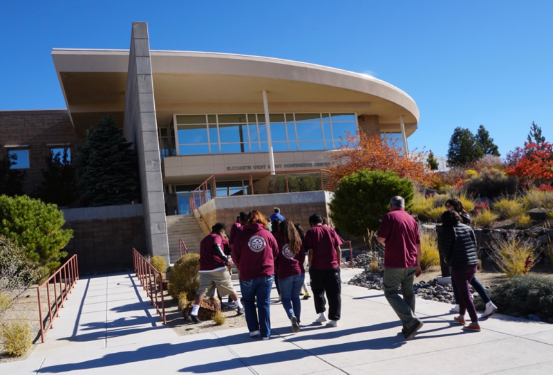 Students from the Pyramid Lake Jr/Sr High School arrive at DRI for Youth Day. Oct. 15, 2018.
