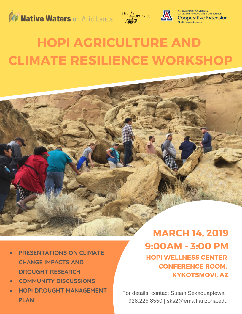 Flyer for Hopi Agriculture and Climate Resilience Workshop