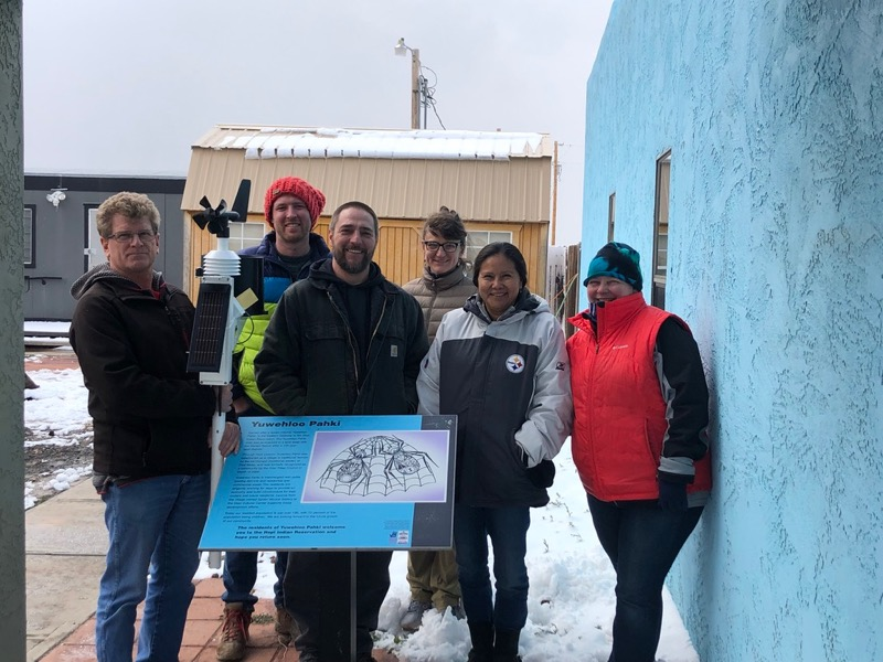 Members of the NWAL team and Hopi tribe installed a weather station at Spider Mound, Arizona.