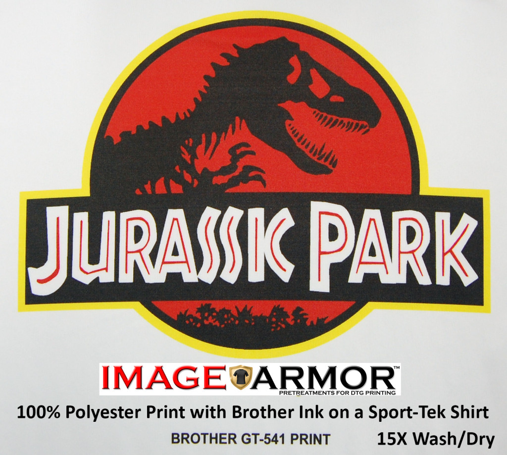 Image Armor with Brother GT Ink on 100% white polyester fabric