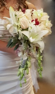 White Lily & Rose, with Red Orchid Cascade Brides Bouquet