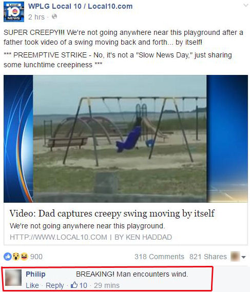 Funny Facebook Comments Wind