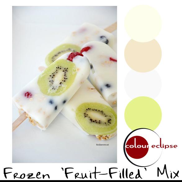 fruit filled yogurt popsicles with color palette