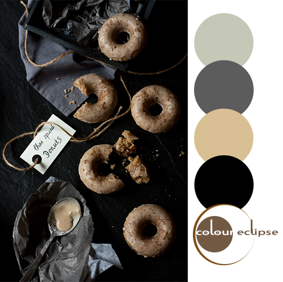 chai spice donuts with color palette