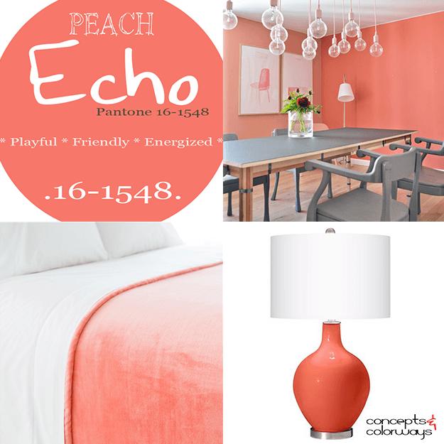 pantone peach echo used in interior design