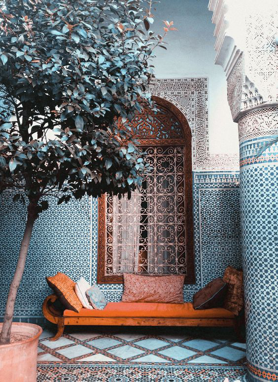 morocco style tiled interior with pantone potter's clay bench