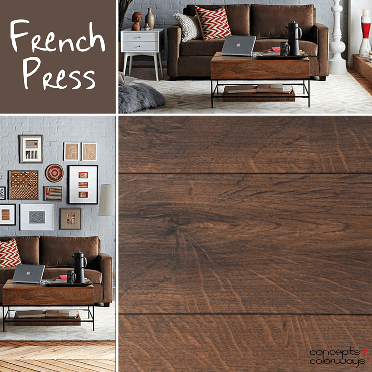benjamin moore french press, chocolate brown, warm brown, brown and white interiors, brown and gray interiors, 2016 color trends