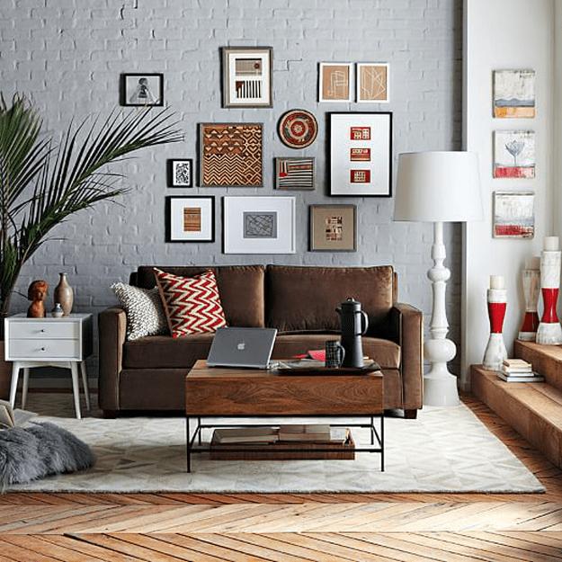 gray living room with chocolate brown sofa