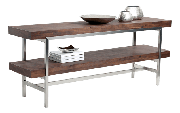 modern shelf with chocolate brown wood