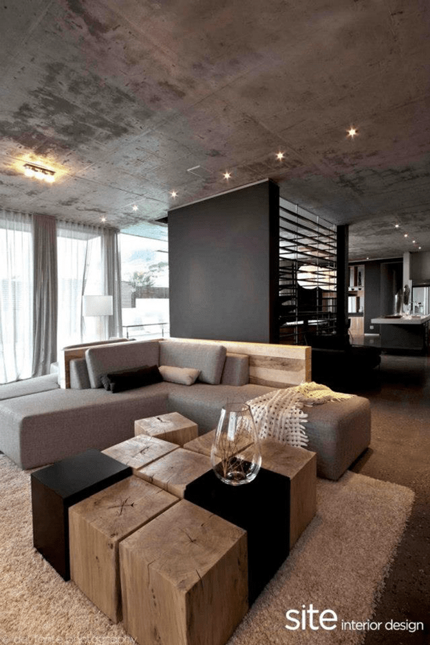 modern living room interior with taupe accents