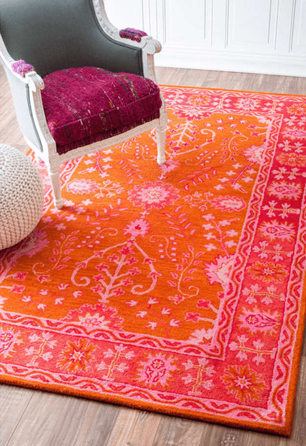 bright red and pink floral rug