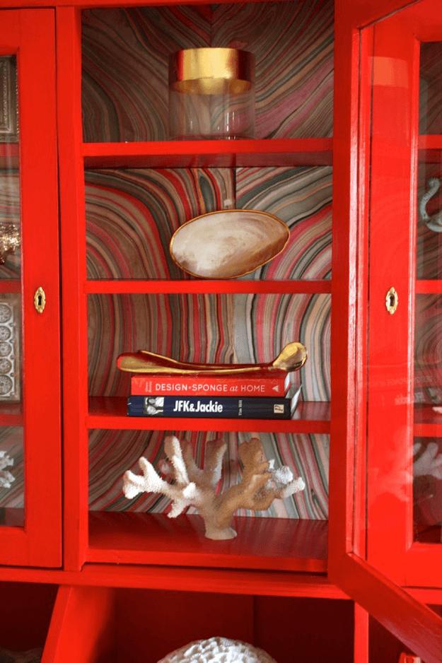 bright red cabinet retro wallpaper