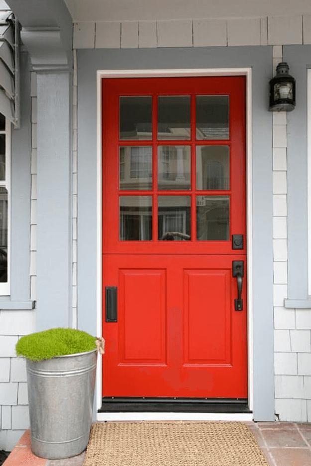 bright red front door