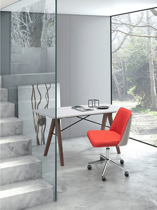 gray modern home office with bright red chair