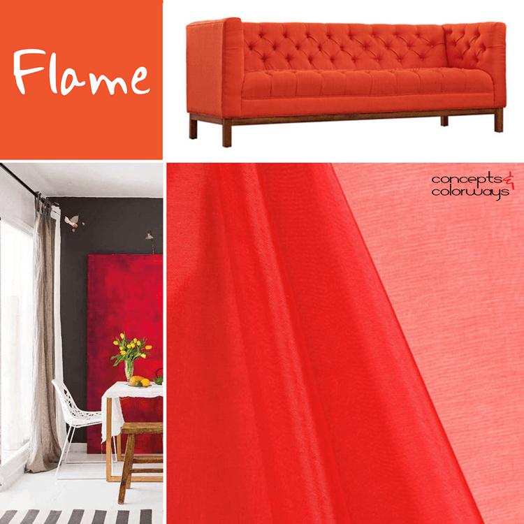pantone flame for interior design