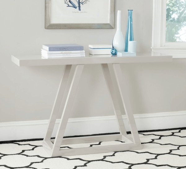 light taupe lacquer console table