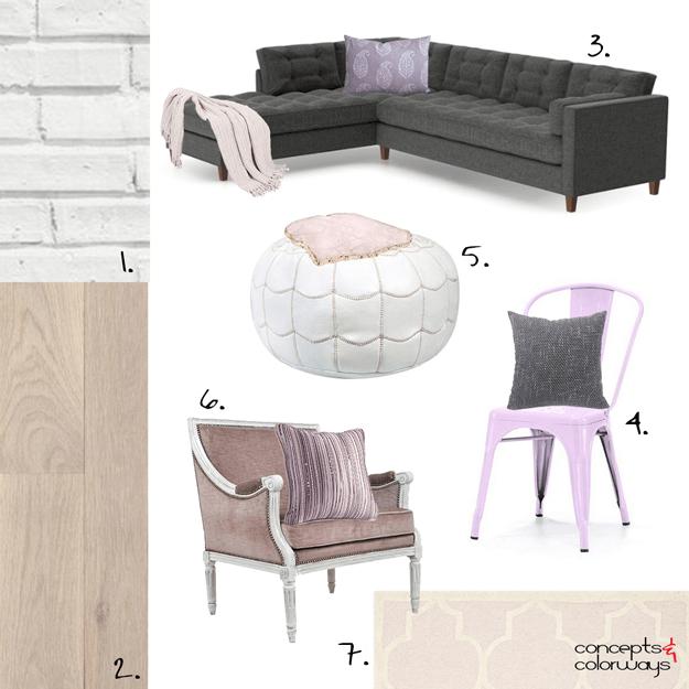 lilac and rose beige interior design