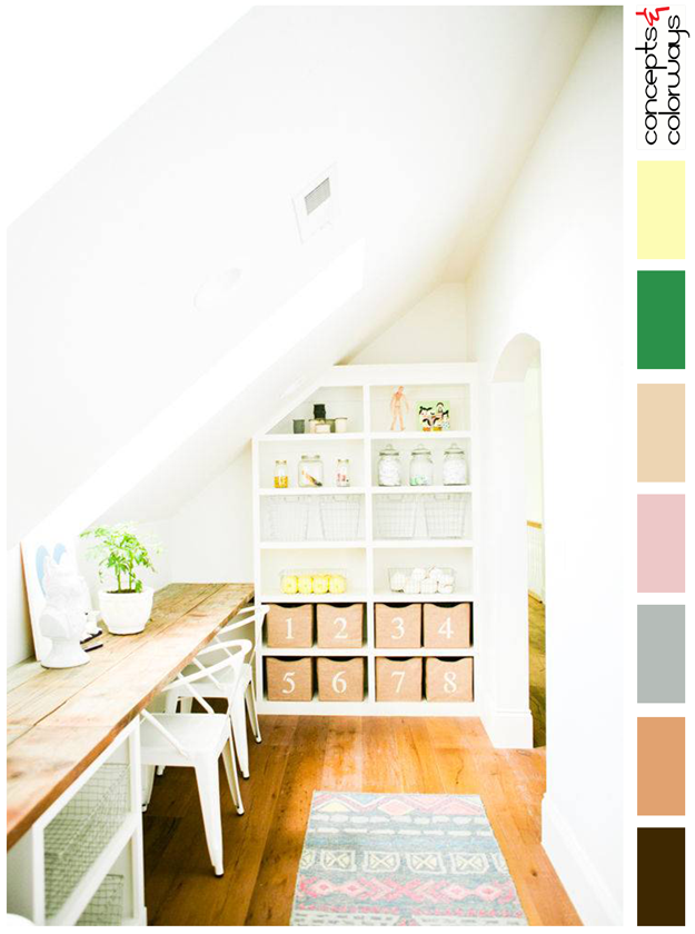 modern farm house craft room color palette