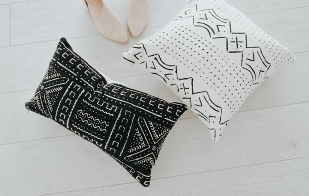 black and white mudcloth tribal pillows