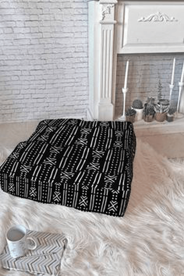 black mudcloth tribal floor pillow