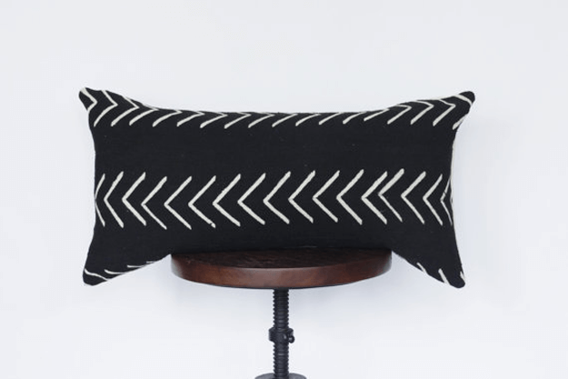 black arrow mudcloth lumbar pillow