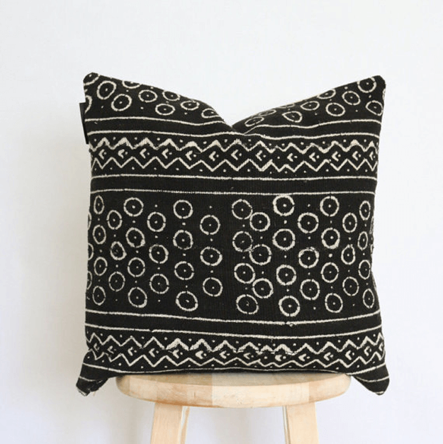 black circle pattern mudcloth pillow